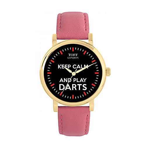 Toff London Reloj Negro Keep Calm and Play Darts con Bastones Rojos