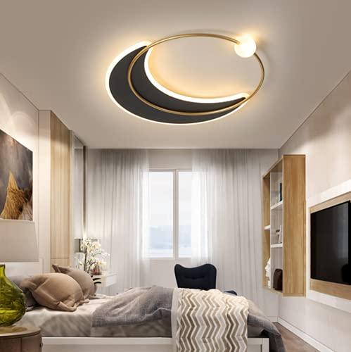 Minimalismo LED Lámpara de techo Cielo estrellado Regulable 3000K-6000 K Moderno Dormitorio infantil Sala de estar Pantalla de acrílico Cocina Oficina sala Luces de techo con control remoto,B,Ø52cm