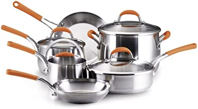 Rachael Ray Stainless Steel 10-Piece Cookware Set, Orange