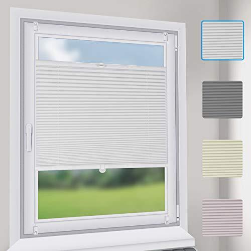 Sekey Plissee Faltrollo ohne Bohren klemmfix Weiße B80cm x H130cm Sonnenschutz Jalousie für Fenster & Tür