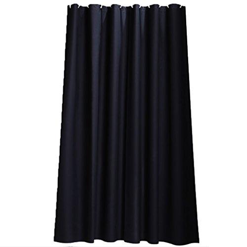 Pure Black Blocking Light PEVA cortina de ducha de plástico con gancho, anillo Color sólido Minimalist Industrial Business Nordic, resistente de múltiples tamaños resistente al moho Thick para