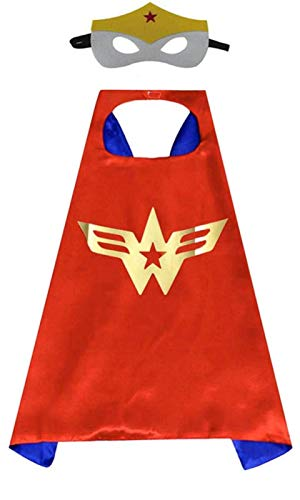 Maribus-FL Superhero Capes and Masks for Kids - Satin Capes and Felt Masks for Boys and Girls (Wonder-Girl) (Wonder-Girl)