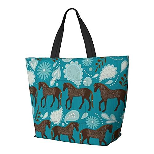 Una danza con caballos Aqua bolsa de hombro multifuncional de gran capacidad, bolso de la tableta, bolso de trabajo ligero, bolsa de viaje de semana bolsa de playa para mujeres