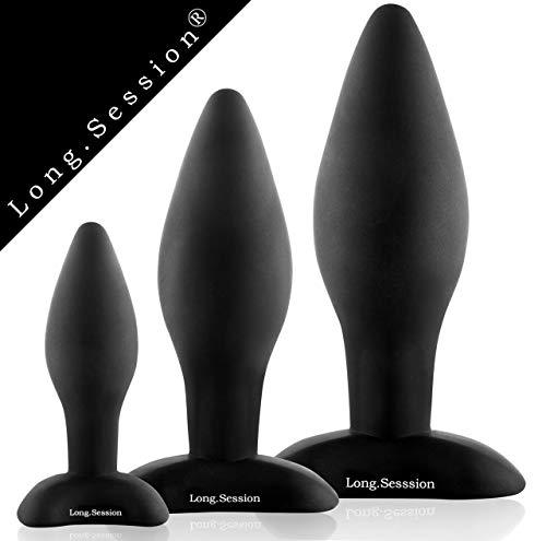 Long.Session® Analplug Set aus hautfreundlichem Silikon für Frauen und Männer in drei Größen Ø2,8cm Ø4,0cm Ø4,5cm