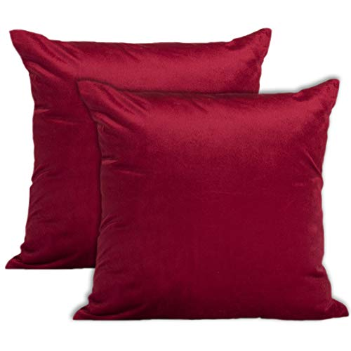 Encasa Homes VELVET Cushion Covers 2pc Set (40 x 40 cm) - Red - Solid Plain Colour Dyed, Soft & Smooth, Washable, Square Decorative Large Throw Pillow Case for Couch, Sofa, Chair, Bed & Home