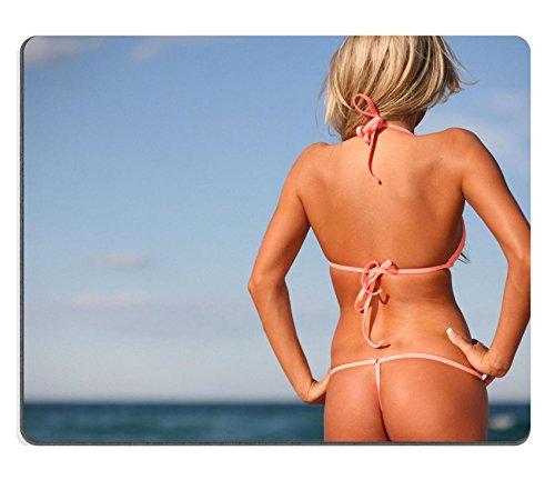 MSD Caucho Natural Gaming Mousepad imagen ID: 1799507en bronce de Mujer Sexy Breve Bikini en la playa con respaldo Turned