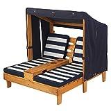 KidKraft 524 Outdoor 2er Lounge Sonnenliege aus Holz mit Getränkehalter – Gartenmöbel für Kinder – dunkelblau & weiß - 6