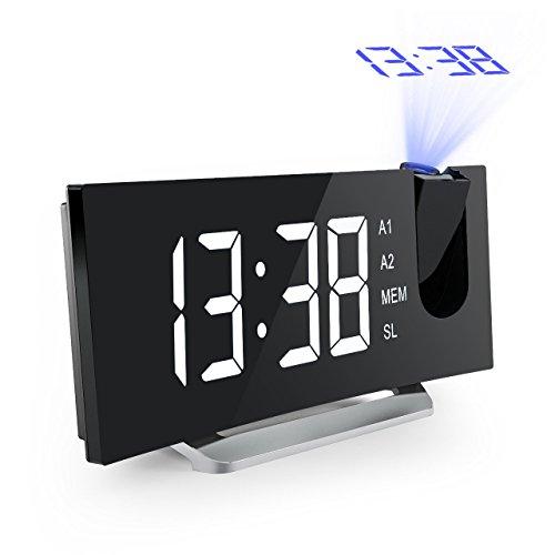 Mpow Radiosveglia con Proiettore Dimmerabile, FM Orologio con Doppi Allarmi, USB Porta di Ricarica, Funzione di Snooze, Grande Schermo da 5 Pollici con Dimmer, Temporizzatore di Sonno, 12/24 Ora
