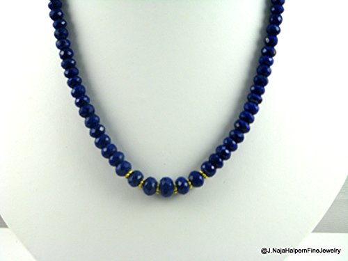 GOLD and BLUE LAPIS LAZULI,.Genuine Lapis Necklace, 17.5 inches
