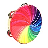 Bestmemories Percussion Instrument 8 Inch Double Row Colorful Tambourine Rainbow Tambourin...