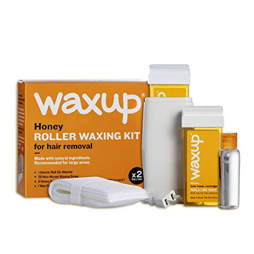 waxup Roller Waxing Kit for Women and Men, Honey Home Depilatory Soft Wax Warmer (Heater), 25 Non Woven Wax Strips for Hair Removal, Oil Wax Remover, 2 Roll On Wax Cartridge Refill, Sensitive Skin