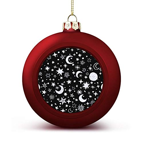 MCFTGHD Black White Moons and Stars (1) Christmas Ball Ornament 1.6inch/4cm for Christmas Tree, Party and Holiday Decoration