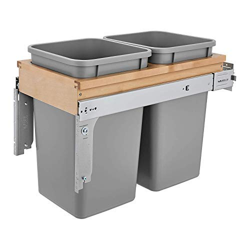 Rev-A-Shelf 4WCTM-15BBSCDM2 Double 27-Qt Maple Top Mount Pull Out Waste Containers with Soft Close Slides for 12