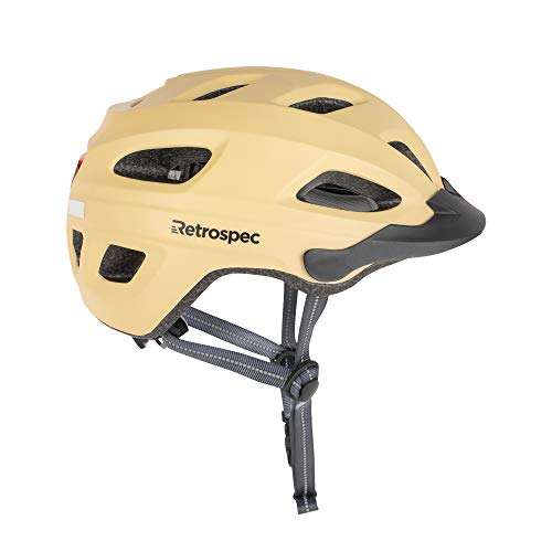 Retrospec CM4 Bike Helmet with LED Safety Light Adjustable Dial and Removable Visor Matte Sand 54cm61cm