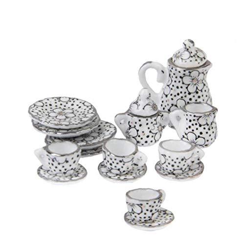 Nicetruc 1/12 Casa De Muñecas En Miniatura Comedor Ware Porcelana Juego De Té Pot Copa del Plato Conjunto De 15 Patrón De La Margarita