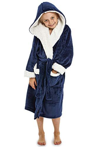 CityComfort Peignoir Garçon Robe de Chambre Polaire Enfant Peignoire Extra Doux (11-12 Ans, Bleu Marine)
