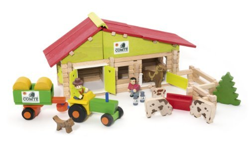 Jeujura 140 Pieces Wooden Construction Farm in Suitcase by Vilac