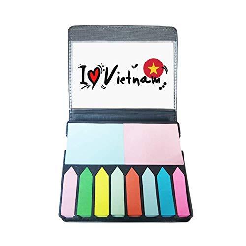 Ik hou van Vietnam Woord Vlag Liefde Hart Illustratie Zelf Stick Note Kleur Pagina Marker Box