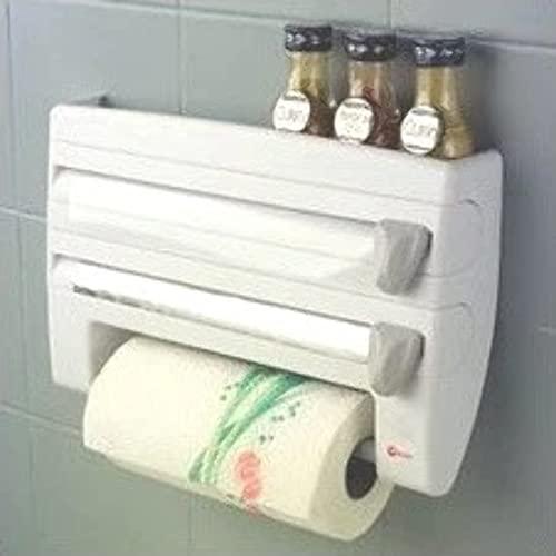Metaltex 254410 Dispensador de portarrollos de cocina 4 en 1 Roll-n-Roll, blanco, 39 x 10 x 25 cm