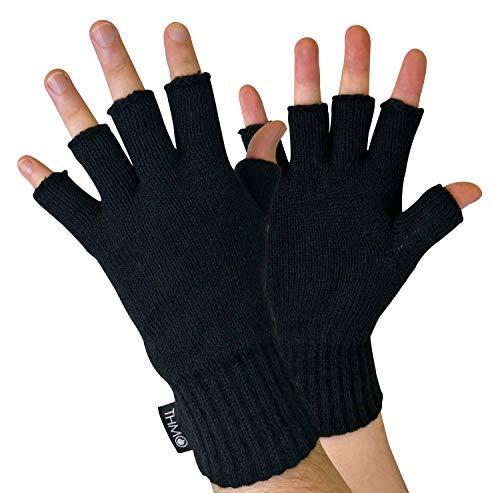 THMO - Hombre Invierno Guantes sin Dedos con Thinsulate Insulation 3M 40 Gram Forro Polar (M/L, Black)