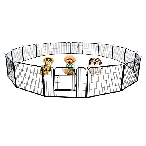 Meihua Dog Playpen Heavy Duty Foldable Metal Pet Pens,Dog Exercise Fence Outdoor Indoor 16-Panel…