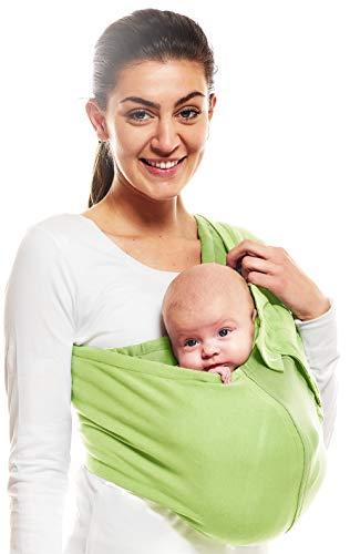 Wallaboo Tragetuch Connection, 100% Baumwolle, Passt sich der Form Ihres Baby genau an, Ergonomische Babytragetuch, Frabe: Grün - 6