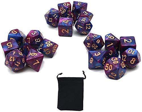 DollaTek Dadi poliedrici Set Giochi da Tavolo Dadi 3 Set Dadi 3 x 7 (21 Pezzi) Serie Die D20 D12 D10 D8 D6 D4 Dadi DND DND Rpg MTG Doppi Colori One Piece (Viola e Blu)