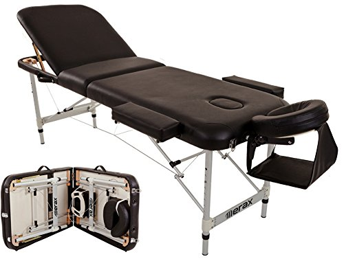 Merax WF015763BAA Aluminium 3 Section Portable Folding Massage Table Facial SPA Tattoo Bed