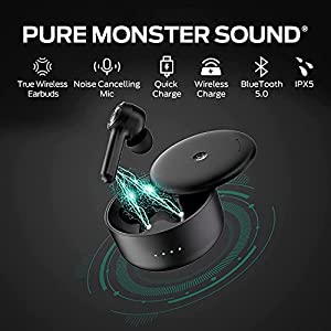 Monster Wireless Earbuds Bluetooth 5.0 in-Ear Headphones with Wireless Charging case, TWS Headphones with Built-in Dual Microphones, can Achieve Clearer Hands-Free Calling (Black)