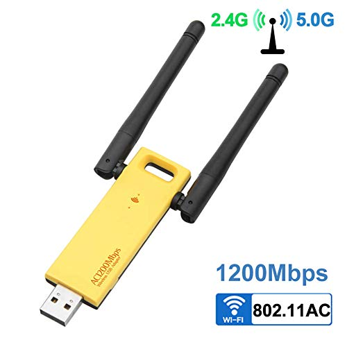 DZSF USB WiFi Adapter Dualband 1200 Mbit/s Wireless 3.0 Realtek RTL8812AU 2,4 G / 5 GHz Netzwerkkarten-Dongle mit Antennen für Desktop-PCs