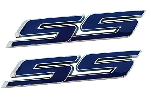 2Pcs SS Side Fender Trunk Emblem, 3D Tilt Badge Decal Replacement for Chevy Impala Cobalt Camaro 2010 2011 2012 2013 2014 2015 2016 2017 (Blue)