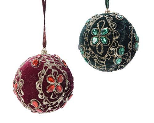 Kaemingk Lot de 2 grandes boules de Noël traditionnelles de style victorien en velours avec perles et détails dorés 10 cm