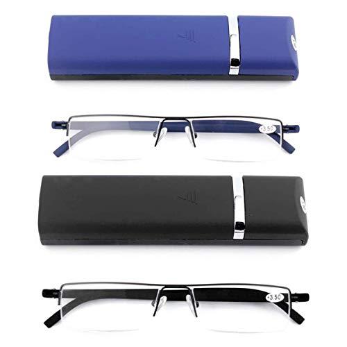 KoKoBin 2 stueck Ultraleichte TR90 Lesebrillen Herren Damen Klassische Metall Sehhilfe Halbrandbrille Schmal Stil Brille Lesehilfe mit Etui und Brillenputztuch +2.5