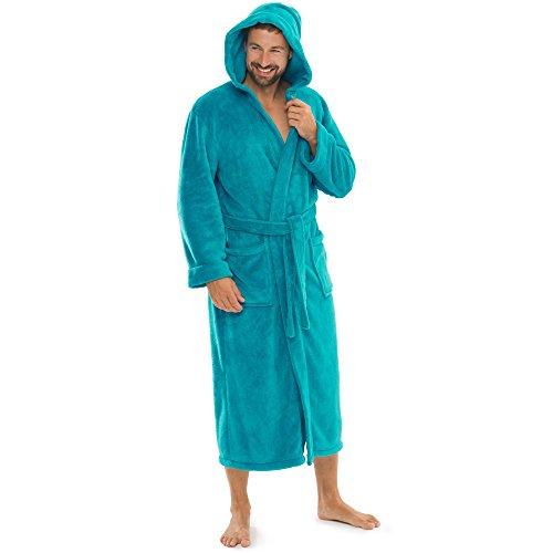 aqua-textil Bademantel Damen Malibu XL türkis Saunamantel Herren Coral Fleece Morgenmantel mit Kapuze
