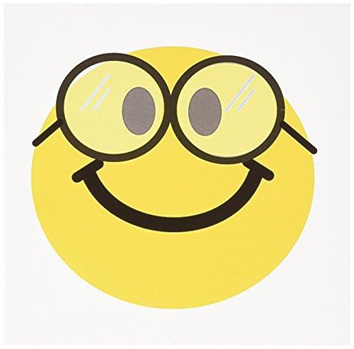 3dRose gc_113100_1 Grußkarten mit Smiley-Gesicht, süßer Geek Happy Nerd mit Brille, Lächeln, lustiges Karikatur-Lächeln, 15,2 x 15,2 cm, 6 Stück