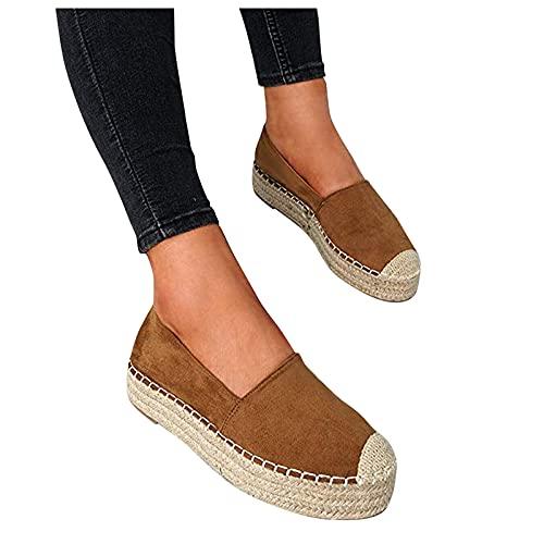 LQIAO Zapatos Planos clásicos sin Cordones para Mujer Mocasines de Alpargatas Simples con Punta de Casquillo Informal