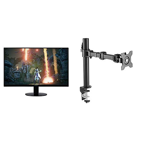 """Acer Bbix 23"""" Full HD (IPS Ultra-Thin Zero Frame Monitor with AMD with AmazonBasics Single Computer Monitor Stand – Height Adjustable Desk Arm Mount, Steel Bundle, SB230 Series (1920 x 1080) 75Hz"""