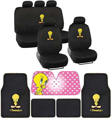 BDK Tweety Seat Cover, Carpet Floor Mat and Sun Shade - Warner Brothers 14 Piece Full Interior Protection Auto Accessories