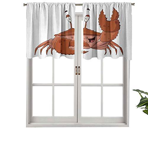 Cortina moderna para ventana, amigable con la cenefa de Chela Arthropod saludando su alicate saludo, juego de 1, 132 x 45 cm, paneles opacos decorativos para el hogar para sala de estar