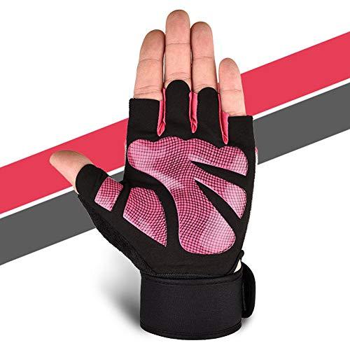 LbojailiAi - Guantes protectores de palma antideslizantes para gimnasio, fitness, levantamiento de pesas, color rosa, tamaño large