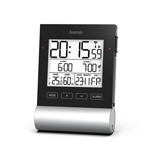 """Hama Funkwecker Digital """"Black Line"""" (Digitalwecker mit Speed-Alarm, 2 Weckzeiten & Schlummerfunktion, Anzeige für Datum, Innentemperatur & Luftfeuchtigkeit, inkl. Batterien) schwarz"""
