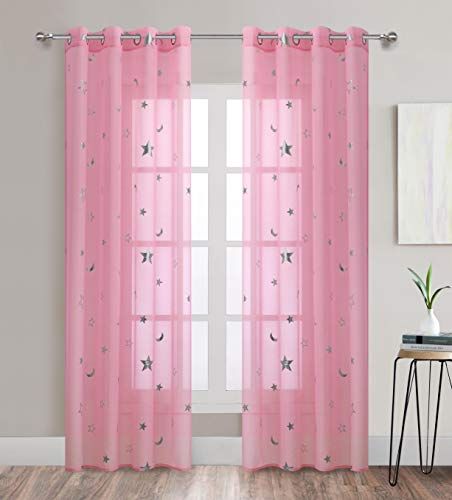 Pink Star Print Curtains Sheer Window Drapes with Silver Twinkle Star for Living Room 2 Panels Grommet Thin and Soft Cosmic Theme for Bedroom and Space-Loving Grown-ups 63 inch Length