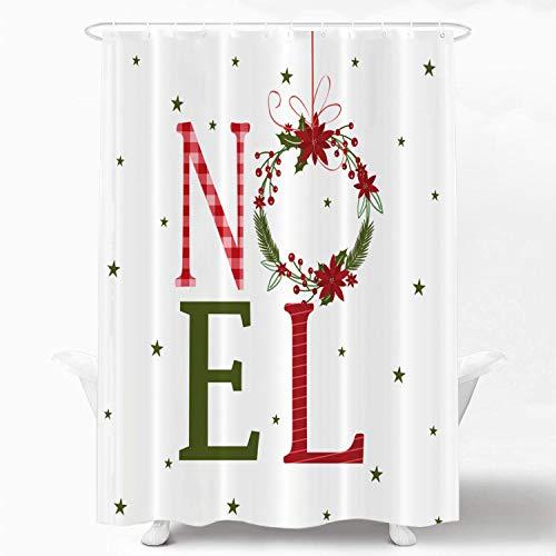 Shrahala Christmas Art Decorative Shower Curtain, Christmas Wreath with Mistletoe Shower Curtain for Shower Stall Bathtubs Bathroom Decor Waterproof Funny Shower Curtain with Grommets 72x72 inch