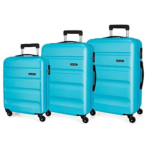 Roll Road Flex Set valigie Azzurro 55/65/75 cms Rigida ABS Chiusura a combinazione numerica 182L 4 Ruote Bagaglio a mano