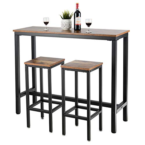 "COSTWAY 3-Piece Bar Table Set, 39.5"" Bar Table with 2PC 28"" Bar Stools, Pub Height Dinning Table Set with Counter Height Backless Stools, Breakfast Table Set for Apartment/Bistro/Pub (Rustic Brown)"