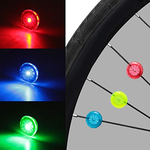 Mudder Bike Wheel Lights Cycling LED Waterproof Bike Spoke Lights Colorful Bicycle Wheel Lights 3 Colors Bike Tire Spoke Light with Batteries Included for Safety Cycling Decoration (12)