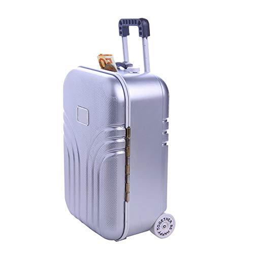 Kreative Koffer Spardose, Mini Klein Trolley Gepäck Sparschwein, Moderne Desktop Dekoration Sparbüchse, Simulation Reisekoffer aus ABS Kunststoff, Nette Reise box, 16x10.5x7cm (1Stück Silber)