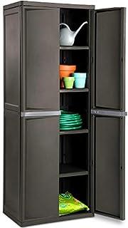 BS Lockable Storage Cabinet Outdoor 4 Shelf Organizer Yard Garden Garages Pantry Dorm Room Kitchen Adjustable Shelves 2 Doors Accent Cabinet Storage Shed Horizontal Durable Grey