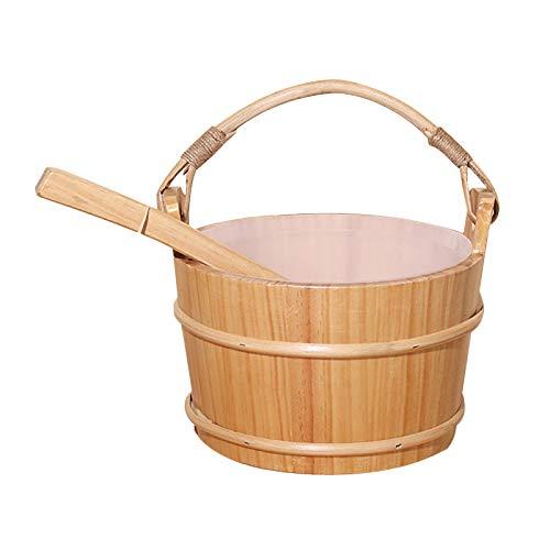 Milageto Cubo para sauna de madera de 4 litros y cucharón y funda para sauna, ahumado artesanal