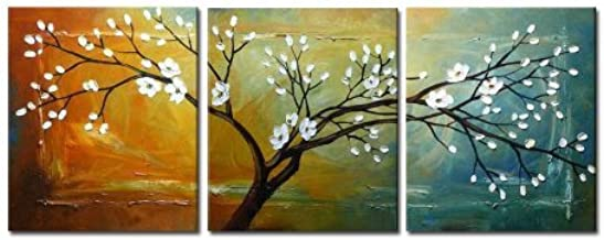 Wieco Art Full Blossom Hand-painted Oil Paintings, Stretched and Framed Modern Canvas Wall Art Wall Decor Floral Oil Paintings on Canvas 3pcs/set 16x20inchx3pcs (40x50cmx3pcs) Multi WAP1_2
